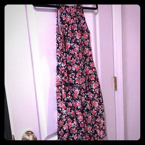 Aqua summer flowered dress - size Small